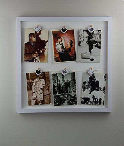Nereus Rahmen aus Holz Außenmaß ca. 43x43cm Farbe Weiß mit 2 Leinen und 6 Mini Wäscheklammer mit Herzapplikation zum Befestigen von Ansichtskarten, Fotos und Bildern in ca. 10x15cm