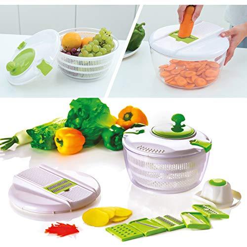KVOTA Girador de ensalada, cortador de verduras y centrifugadora – Juego 2 en 1 con 6 discos intercambiables
