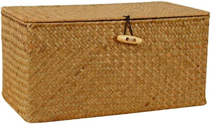 BTYAY Max 48% OFF Manual Woven Storage Basket Lid Deluxe Rattan Wicker Sundr