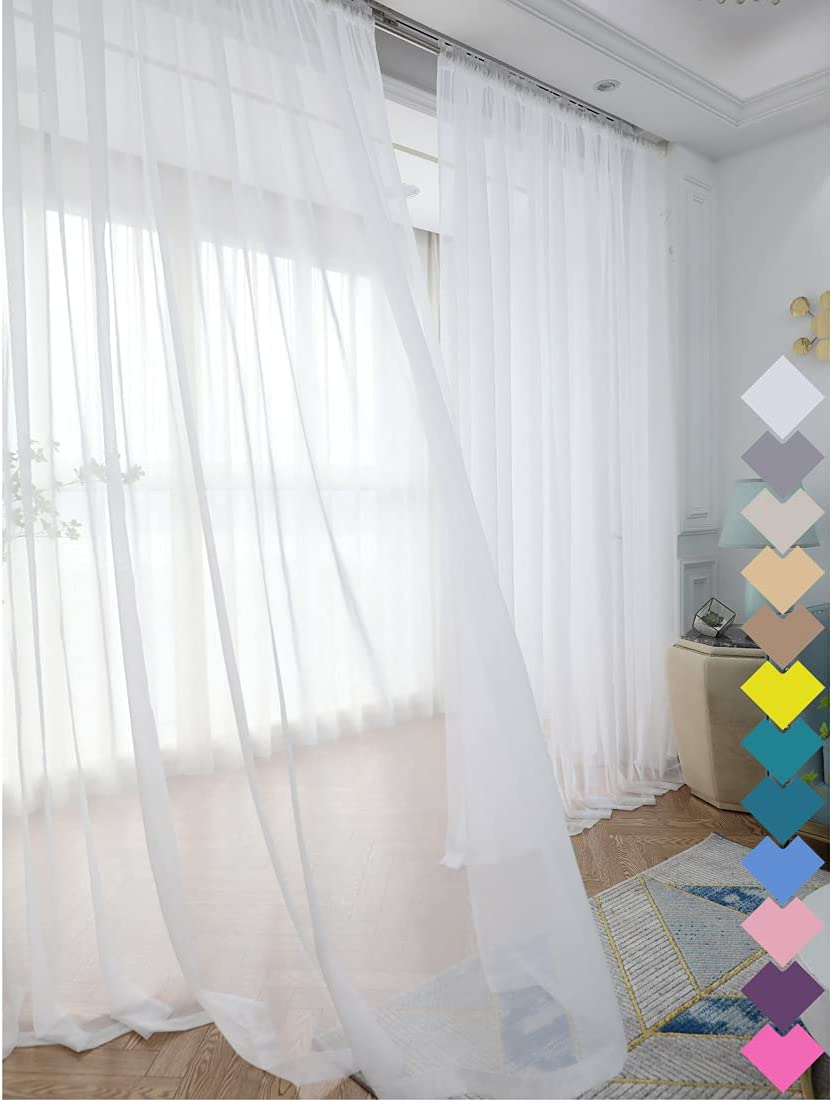 Window White Sheer Curtains 84 Panels Long Mail order Max 72% OFF 2 Inches