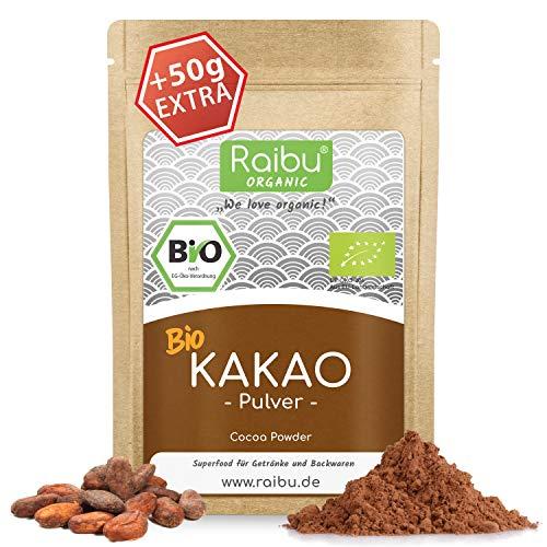 RAIBU® Kakao Pulver BIO Vegan 500g + 50g extra I Reines Kakaopulver entölt ideal zum Backen als Backkakao oder als Trinkschokolade I 100% natürlicher Rohkakao abgefüllt in Deutschland