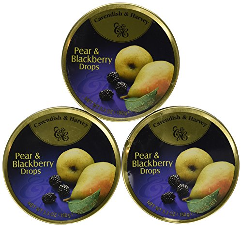 Cavendish And Harvey Candy (3 Pack) Fruit Hard Candy Tin 5.3 Ounces Imported German Candy (Pear and Blackberry Drops)