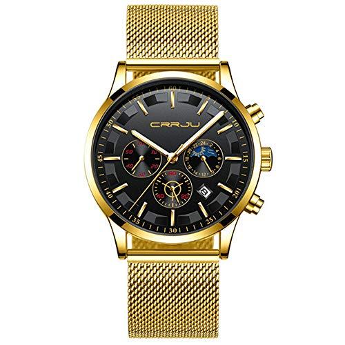 Relojde Cuarzo de Malla para Hombre de Marca Superior Relojde Pulsera cronógrafo multifunción de Moda Relojde Fecha de Fase Lunar a Prueba de Agua