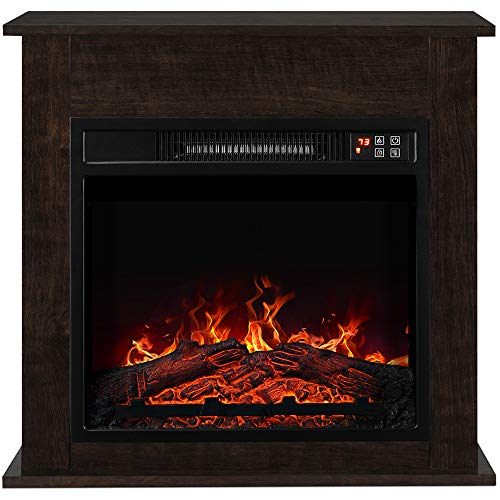 "BELLEZE 1400W 25"" Deluxe Electric Fireplace Mantel Heater Insert Freestanding Portable Stove with Remote Control, Dark Wood"