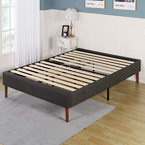 VECELO 14 Inch Deluxe Upholstered Platform Bed Frame/Mattress Foundation/Wood Slat Support/No Box Spring Needed/Easy Assembly-Gray,King, Grey
