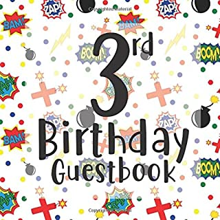 3rd Birthday Guestbook: Fun Superhero Hero Themed - Third Party Baby Anniversary Event Celebration Keepsake Book - Family Friend Sign in Write Name, ... W/ Gift Recorder Tracker Log & Picture Space