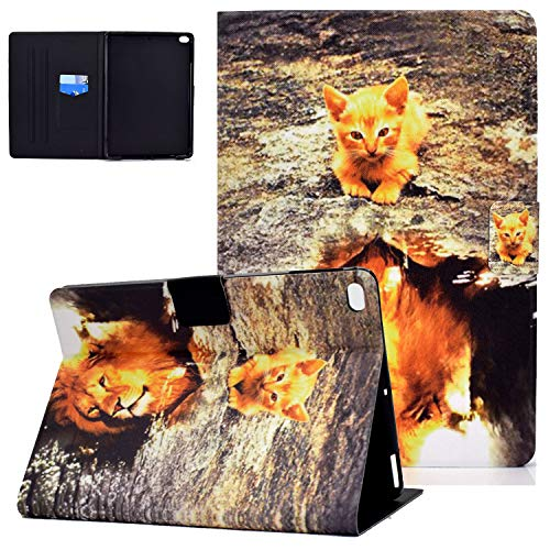 iPad 6th/5th Gen 9.7 Inch 2018/2017 Case and Cover, iPad Air 2nd/1st Gen 2014/2013 Case, UGOcase Slim PU Leather Folio Stand Magnetic Auto Sleep Wake Card Slots Shell Case for iPad 9.7' - Cat & Lion
