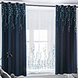Tinysun Vine Flower Embroidered Top Faux Linen Textured Curtain for Bedroom,Elegant Countryside Designed Window Blackout Curtains for Living Room Bedroom (Navy/Blue,W52xL84,1 Panel)