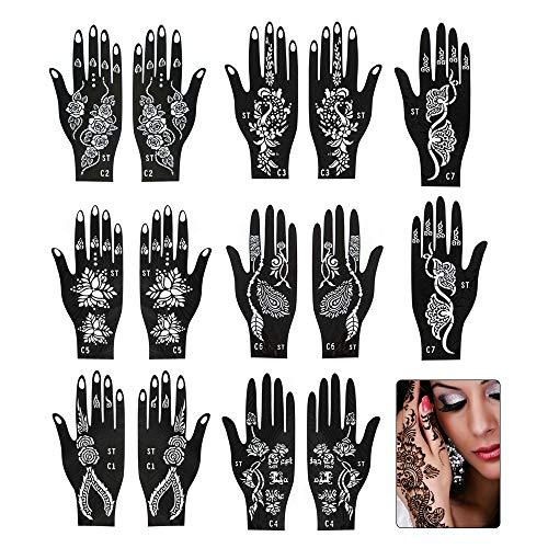 IWILCS Henna Tattoo Plantillas, Plantillas de tatuaje temporal, Autoadhesivo hermoso cuerpo pintura arte diseños temporal mehndi dibujo mano plantilla para mujeres y niñas(7pcs)