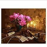 Flor Diy Pintura Por Número Violín Pintura Al Óleo Sobre Lienzo Pintado A Mano Luz De Vela Cuadros Decoracion Pintura Acrílica Arte Sin Marco 40X50CM