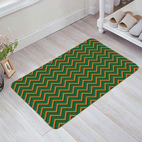 Alfombra estera del piso Tapetes Felpudo Tema del día de San Patricio Rayas de chevrón en zigzag verdes y naranjas alfombras 40X60CM