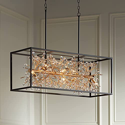 """Carrine Black Gold Large Linear Island Pendant Chandelier 38 1/2"""" Wide Clear Crystal Bud 8-Light Fixture for Kitchen Island Dining Room - Barnes and Ivy"""