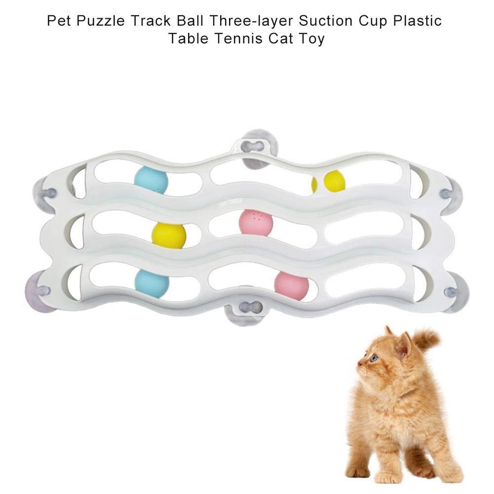 Hualieli Pet Puzzle Track Ball Ventosa De Tres Capas Mesa De Plástico Tenis De Mesa Gato Juguete Juegos De Rompecabezas Y Pista De Carreras Funny Pet Track Ball Toy Accesorios para Mascotas: