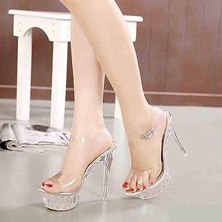 ZFAFA Femme Transparent Talons Hauts Sexy Cristal Sandales Lacets Chaussures de fête Photographie Mariage