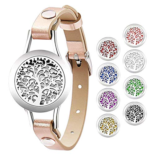 JewelryWe Oil Diffuser Bracelet,Tree of Life Aromatherapy Locket Essential Oil Perfume Diffuser Bangle Bracelet with 8 Washable Color Pads for Women Girls