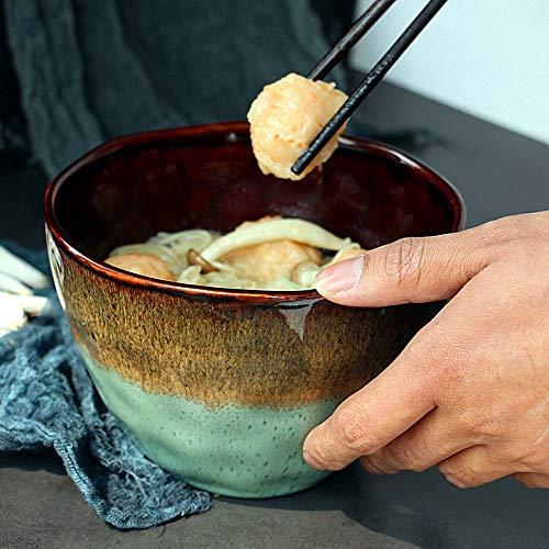 NO BRAND Inicio vajilla Ensalada Escandinavo de cerámica Corazón del Agua Verde Cuenco de Fruta de 6,5 Pulgadas Tazón Irregular Soup Bowl/Cuenco de Fideos/tallarines inmediatos Tazón