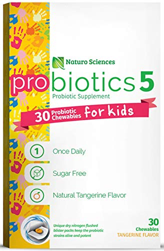 Naturo Sciences, Childrens Chewable Probiotic, Kids Digestive Immune Defense Probiotics, Nitrogen Filled Blister Packs for Product Freshness, 30 One a Day Tabs Sugar Free Orange Tangerine Flavor