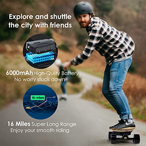 RUNAJOY Electric Skateboard 2000W Dual Belt Drive Motors 22 MPH Top Speed 16 Miles Range 30° Climbing Capacity 8 Layers Maple Electric Longboard with Remote Control 4 Speed Mode Max Load 265 lbs