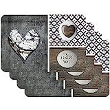 Venilia Love in Wood 59082 Tovaglietta con motivo stampato, Love in Wood Grau, Confezione da 4 pezzi