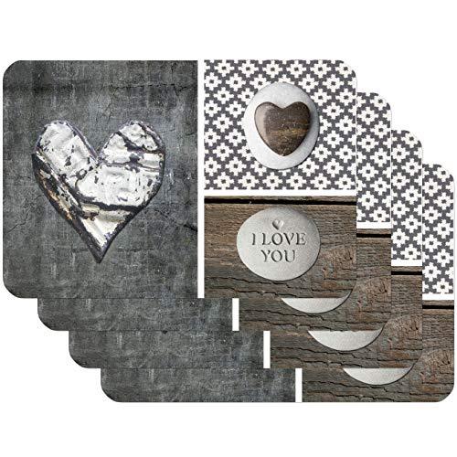 Venilia Salvamanteles Love in Wood, Mantel Individual, Mantelería, Mantel Individual para el Comedor, Apto para Alimentos, marrón/Gris, 4 tajada, 45 x 30 cm, 59082