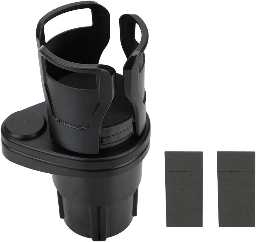 Kohlenschwarz NOPNOG Auto Drehbarer doppelschichtiger Getr/änkehalter Einstellbare Gr/ö/ße der oberen Getr/änkehalterung mit Aufkleber ABS