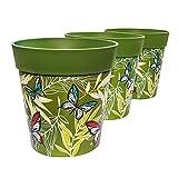 Pots de fleurs Hum, lot de 3, vert, en plastique, 22cm x 22cm, jardinières colorées, pots d'extérieur/d'intérieur (14 modèles disponibles)