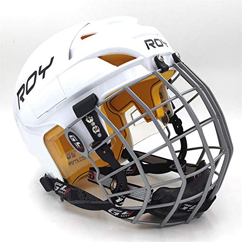 4U4 Eishockey-Helm Kind Erwachsene Land Hockey Hockey Upland Roller Skating Ballmaske Helm Schutzausrüstung,S
