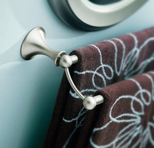Moen DN7722BN Lounge Collection 24-Inch Bathroom Double Towel Bar, Brushed Nickel