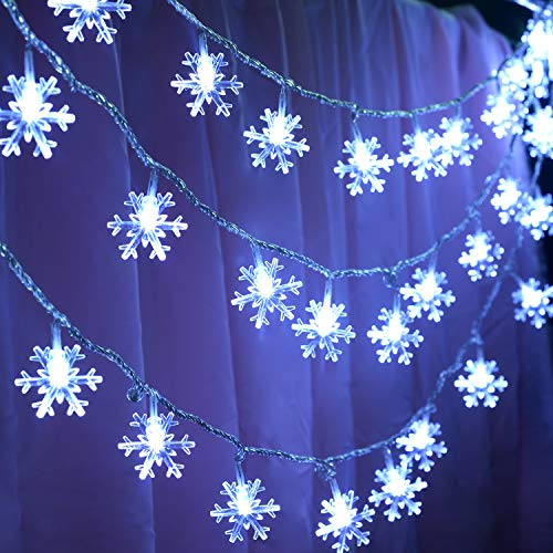 32.8ft Snowflake Lights String, 10m LED String Lights 100 LEDs 8 Modes Waterproof Fairy Lights for Room Halloween Christmas Decorations
