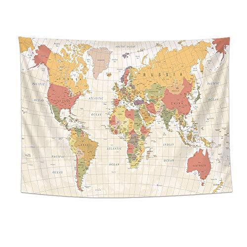 haoyunlai Mapa del Mundo Imprimir Pared Colgando Boho Tapicería Colorido Mapa Mandala Muro Tapicería Playa Toalla Manta Cojín de Dormir Yoga-CS16-8_100cm * 70 cm