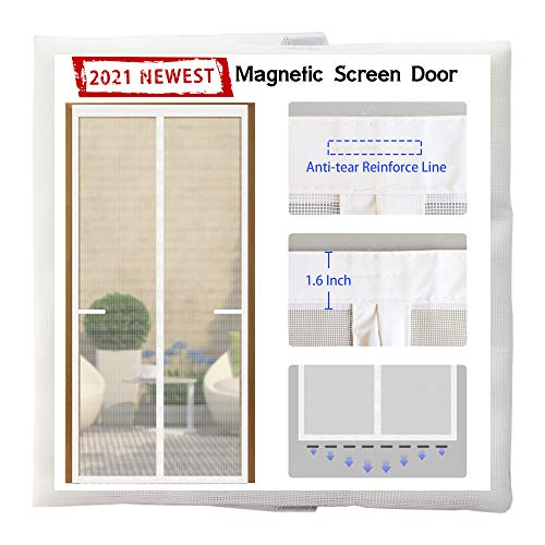 Odocovo Magnetic Screen Door [Upgraded Version]36x83 with 36 Strong Magnets Sewn-in& 8 Weighted Gravity Sticks,Full Frame Seal Reinforced Fiberglass Mesh Front Door Screens,Pet&Kids Friendly,White