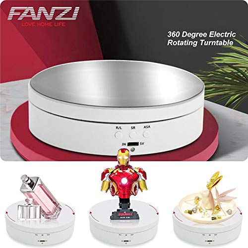 FANZI Motorized Turntable Display for Display Jewelry Watch Digital Product Bag Models Jewelry Collectiblesand Product Shooting 360 Degree Electric Rotating Turntable 55 Inch Diameter  White