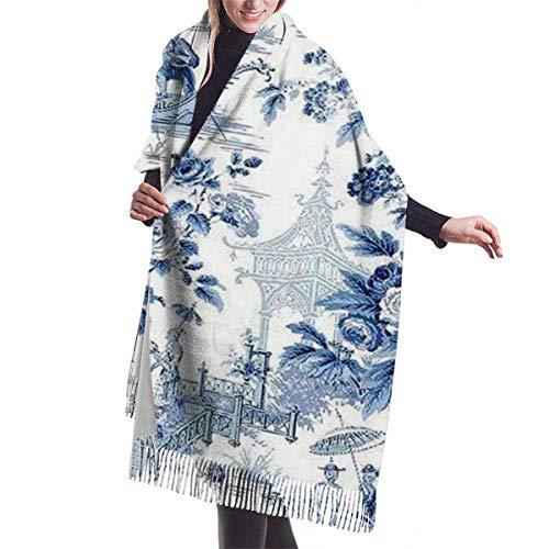 JONINOT Bufanda de Cachemira de Toile Chinoiserie azul en polvo estilo chino Ligero Unisex Primavera Suave Invierno Bufandas Flecos Chal Wraps