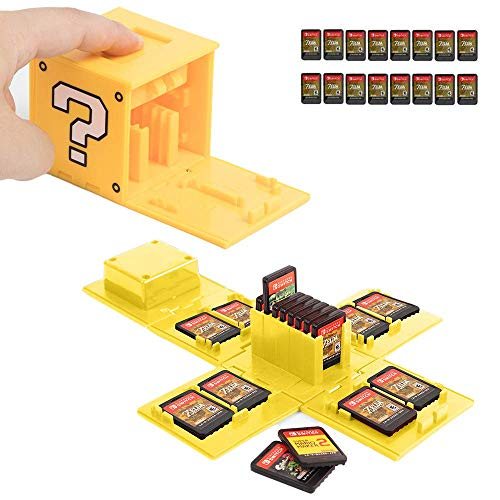 Switch Game Card Case, Game Card Holder for Nintendo Switch Games with 16 Card Slots, Fun Gift for Kids (Question Block Yellow)