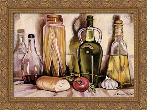 Kasun, Theresa 24x19 Gold Ornate Framed Canvas Art Print Titled: Pasta and Olive Oil