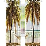 YUAZHOQI Cortina opaca para ventana, decoración navideña, hamaca con palmeras en la orilla, tropical Beac, cortinas personalizadas, 132 x 274 cm