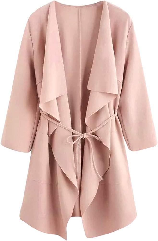 Women Fashion Cardigan Open Front Jacket Casual Pocket Waterfall Collar Overcoat