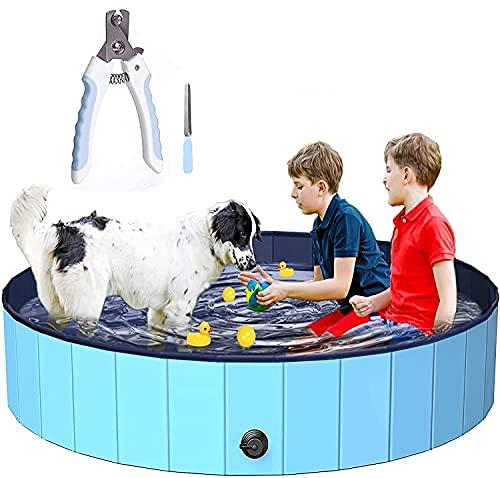 Dog Swimming Pool Foldable Paddling Pool PVC Non-slip Puppy Swimming Shower Bathing Bathtub Wash Tub Water Pond Indoor Outdoor