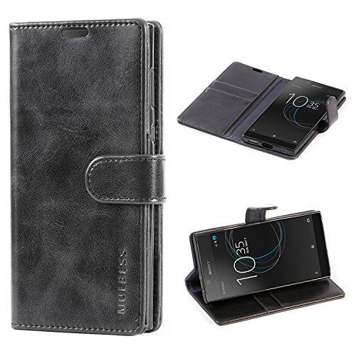Mulbess Handyhülle für Sony Xperia L1 Hülle Leder, Sony Xperia L1 Handytasche, Vintage Flip Schutzhülle für Sony Xperia L1 Hülle, Schwarz