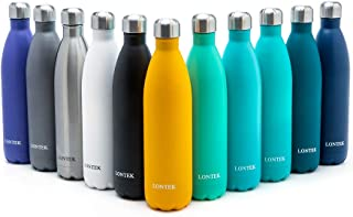 UMAY Lontek Stainless Steel Water Bottle- Vacuum Insulated, Double Wall Vacuum Water Bottle 20 Hours Hot & 24 Hours Cold,18/8 26oz /750ml