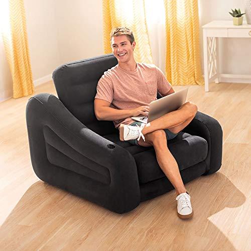ZLZL multifunctionele opvouwbare bank 5-in-1 opblaasbare bank luchtbed matrasligstoel - uitschuifbaar bed (5-in-1 lounger) Zwart
