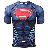 COOLMAX Raglan Short Sleeve Superman Mens Compression Shirt (Medium, Dark Blue)