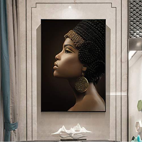 Danjiao Pinturas Al Óleo De Mujeres Africanas Impresas En Lienzo Impresiones Artísticas Chica Negra Con Pendientes Dorados Lienzo Imágenes Artísticas Decoración De Pared De Belleza Sala De Es 40x60cm