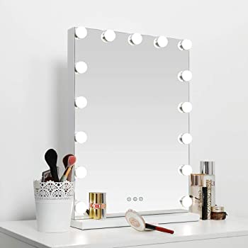 SHOWTIMEZ Lighted Hollywood Vanity Mirror with 3 Lighting Modes and Adjustable Brightness, Cosmetic Makeup Mirror with 15 LED Bulbs, W16.9 x H22.8inch