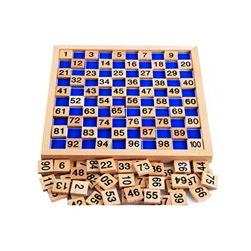 Amberetech Wooden Toys Hundred Board Montessori 1-100 Consecutive Numbers Wooden