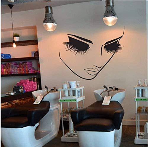 Farben Vinyl Wandaufkleber Wimpern Beauty Salon Abnehmbare Wandtattoo Lash Bar Kosmetik Stor Wanddekor 42X51Cm