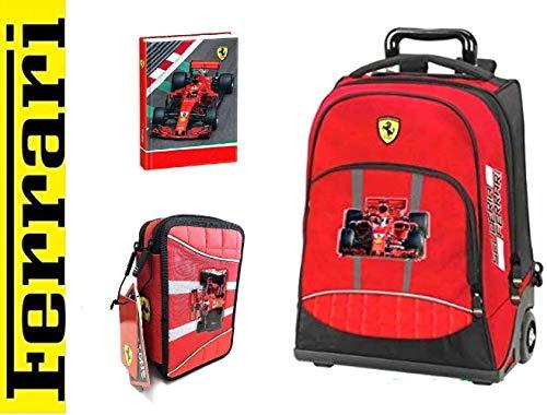 Ferrari - Trolley mochila organizada roja + Estuche de 3 cremalleras completo + diario + llavero silbato + 10 bolígrafos de colores + marcapáginas