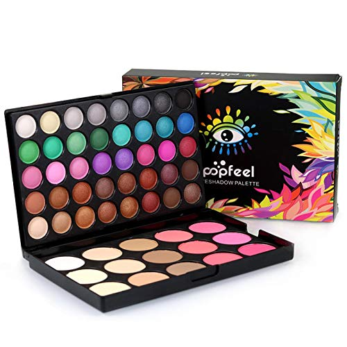 55 Farben Eyeshadow Lidschatten-Palette Makeup Kit Set Make Up Professional Box (mehrfarbig)