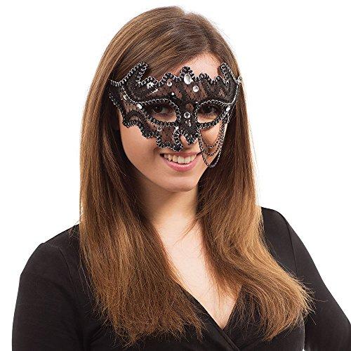 Bristol Novelty Novelty-EM690 EM690 Masque pour les Yeux avec Bijoux et Chaîne, Women, Noir, taille unique