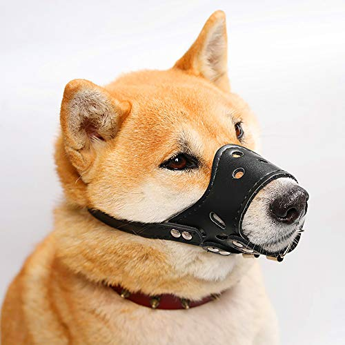 HITNEXT Bozal para perro de piel suave, bozal negro para perro antiladrido/masticar, bozal ajustable para perros pequeños, medianos y grandes (xs)